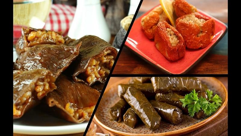 Turkish Dolma Sarma Recipe (Stuffed veggies and grape leaves) - Traditional Turkish Dish Recipe!