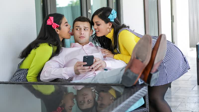 Maya Farrell, Alina Belle - My Stepsisters Fucked Me To Get Into The Club (Threesome, Big Tits, Blowjob, Black Hair, Latina)