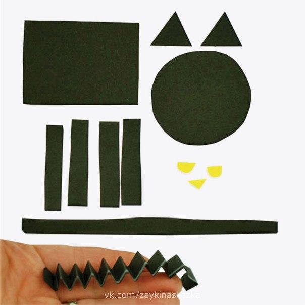 ЧЁРНЫЙ КОТ Аппликация из геометрических фигурок