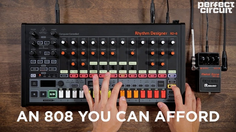 Behringer RD 8 Analog Drum Machine With MS 1 Waza Craft Pedals