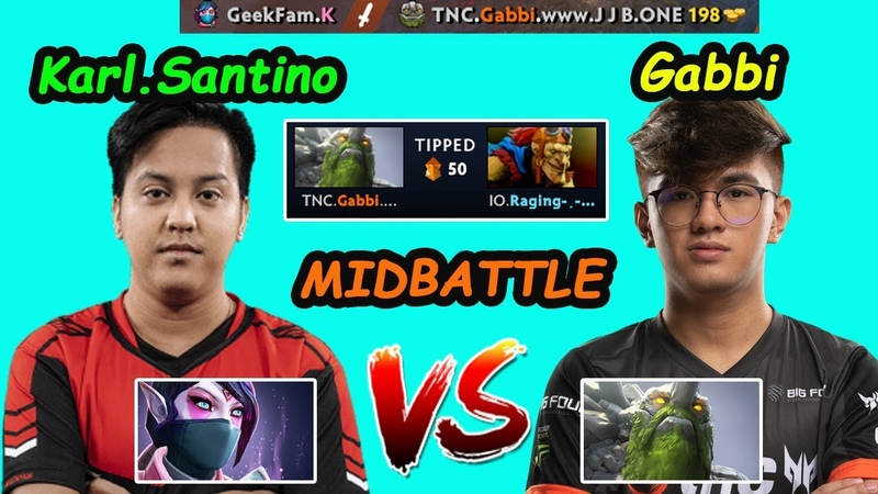 TNC Gabbi [Tiny] vs GeekFam Karl Santino [Templar] -- MIDLANE BATTLE 7.24 Dota 2 pro Gameplay