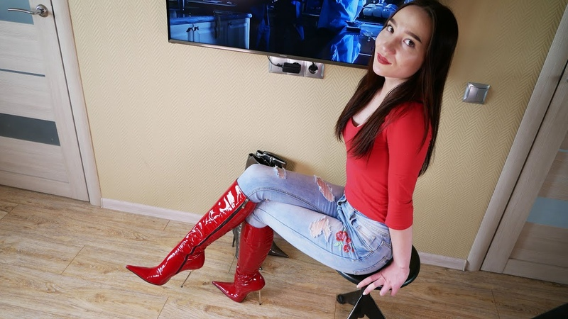 Christina's Gianmarco Lorenzi red patent leather boots Size 39 Кристина Кожина June 1 2018