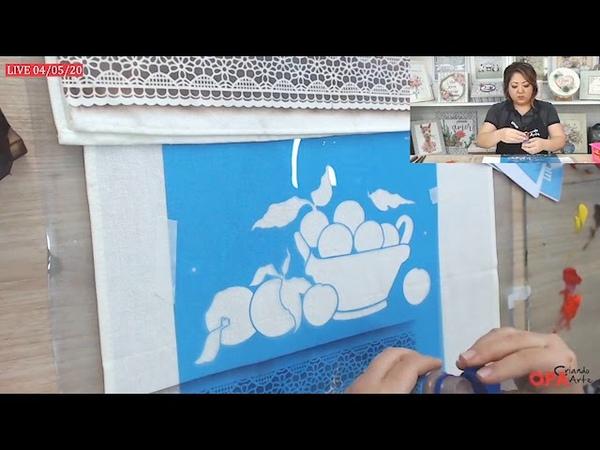 Live 04 05 20 Pintura em Tecido Cesto com Frutas Mayumi Takushi Stencil OPA CRIANDO ARTE