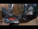 Ремонт пластика обвеса мопеда скутера. Сварка пластика электродами, удаление эпоксидки и сетки.
