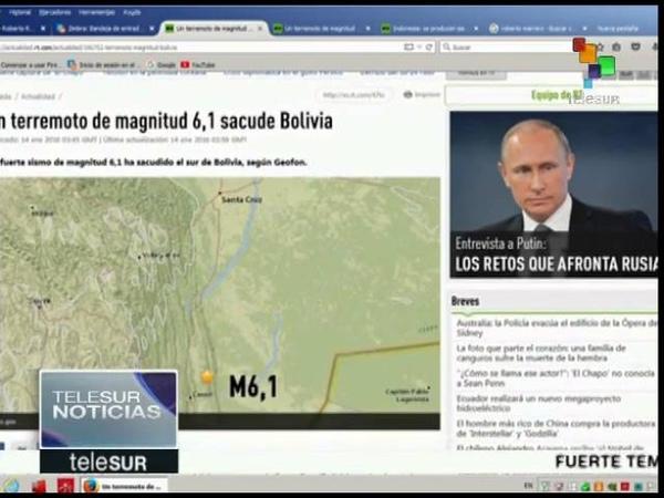 Sismo de magnitud 6,1 sacude el sur de Bolivia