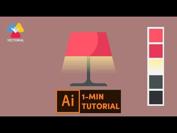 Flat design Lamp tutorial in Adobe Illustrator 1 minute tutorial for beginner