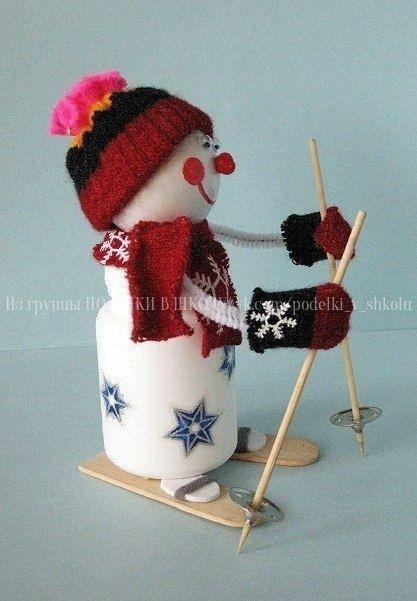 СНЕГОВИЧОК Чтобы сделать снеговика необходимо:пустую пластмассовую баночку из под витаминов - для тела;теннисный шарик - для головы;белую проволоку - для ручек;белую вспененную резину для