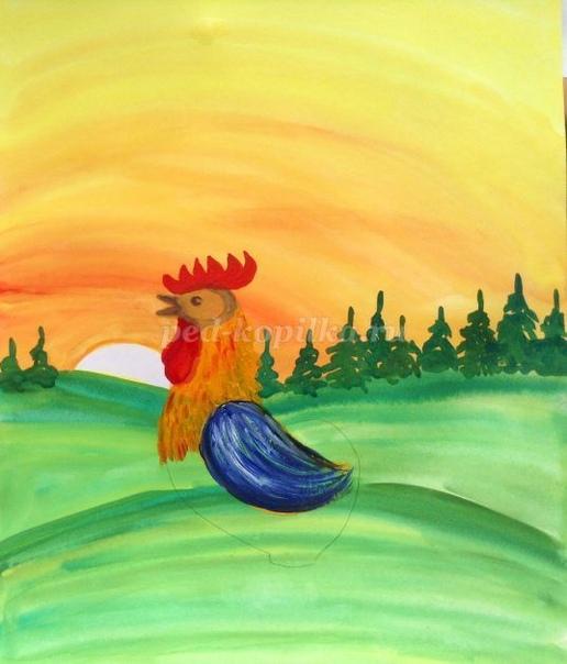 Рисуем петушка гуашью Автор: Яковлева Наталья Анатольевна