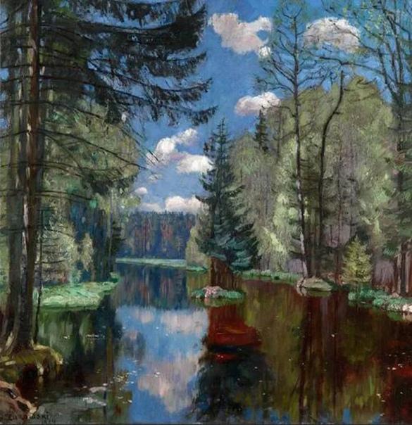 Станислав Юлианович Жуковский. Бесконечный небесный простор просто завораживает нас своей красотой! На первый взгляд, портрет неба. Но это только сначала так кажется. Затем мы обращаем внимание