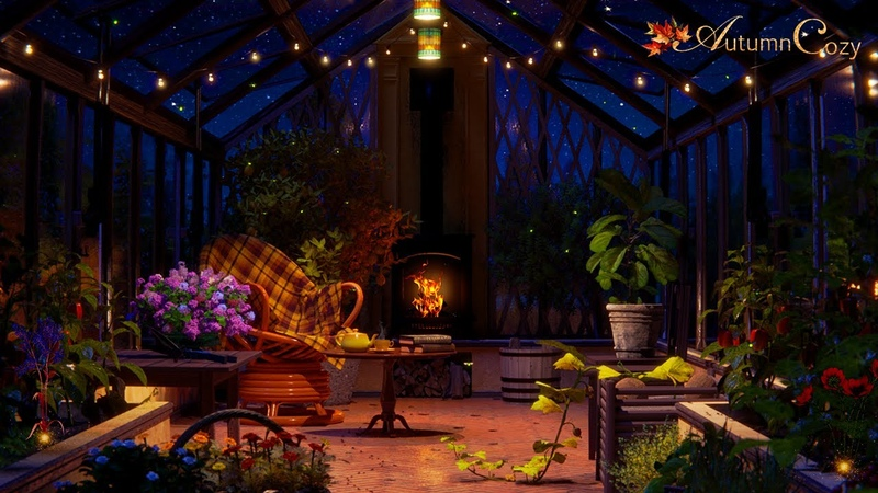 NIGHT GREENHOUSE AMBIENCE Plant Watering Sounds, Night Nature Sounds, Pages Turning, Crackling Fire