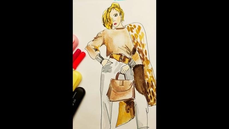 ФЕШЕН СКЕТЧ МАРАФОН БЛОК 7 Разбор основных ошибок при рисовании фешен скетча фигуры и одежды