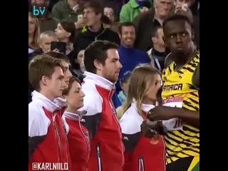 Просто посмотрите как Усейн Болт ведёт себя с персоналом на стадионе!