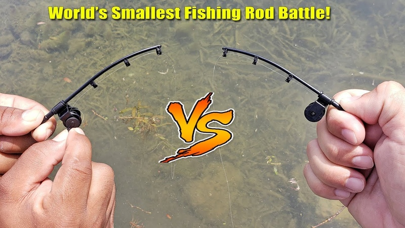 World's Smallest Fishing Rod Challenge! Who Will Win? 1v1