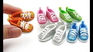 DIY Miniature Craft - Mini Glitter Sneakers Shoe