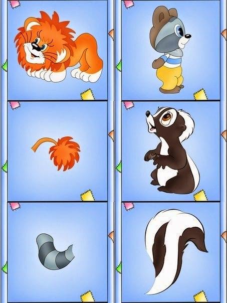 Дидактическая игра Подбери хвостик. Распечатайте и разрежьте вот такие картинки, а затем попросите малышей помочь животным найти свой