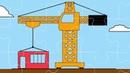 Интересный мультфильм для детей - Пазл Строительный кран, Экскаватор, Трактор