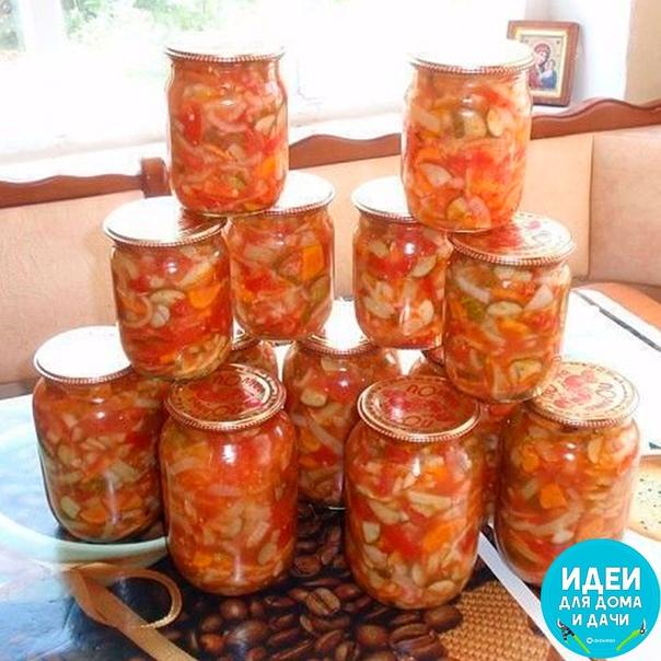 Отличный вкусный салатик. Открыл баночку - и вот тебе готовый салатик к ужину. Нужно: 1 кг - капусты 1 кг - помидор 1 кг - огурчиков 1 кг - сладкого перчика 1 кг- морковки Если чего-то из овощей