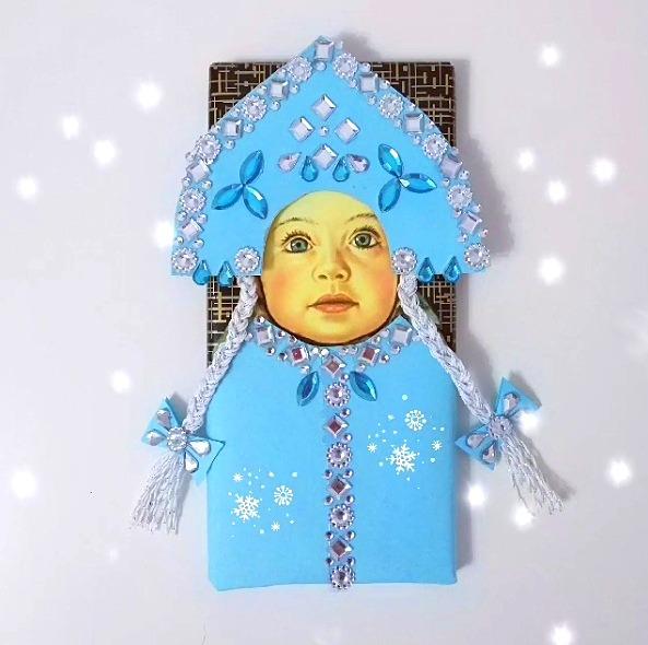 Лёгким взмахом руки шоколадка «Алёнка» превращается в шоколадку «Снегурочка Алёнка» Идея для подарка быстро, несложно и