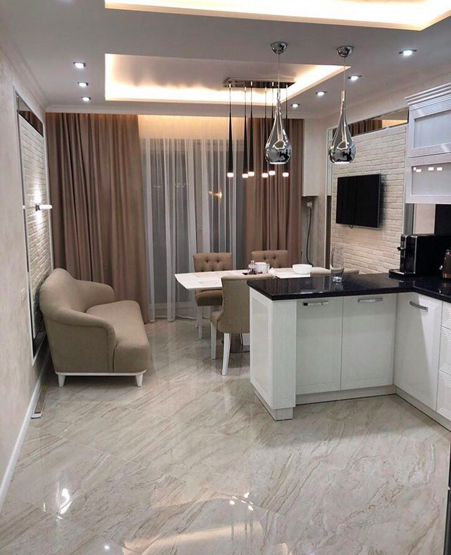 Спальня, гостиная и кухня - ремонт в двушке