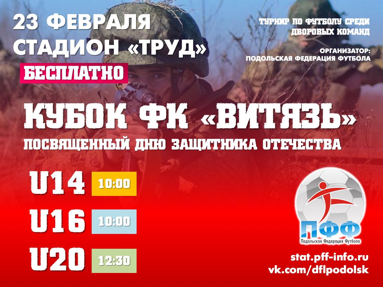 23 февраля пройдет Кубок Витязя по футболу среди юношеских команд