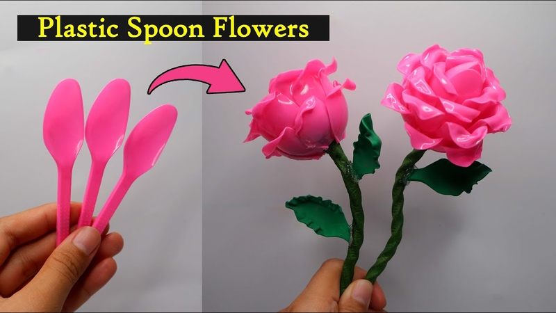 Ide Kreatif Bunga mawar dari sendok plastik Plastic Spoon flowers