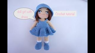 Little Doll girl bag charm crochet 👩