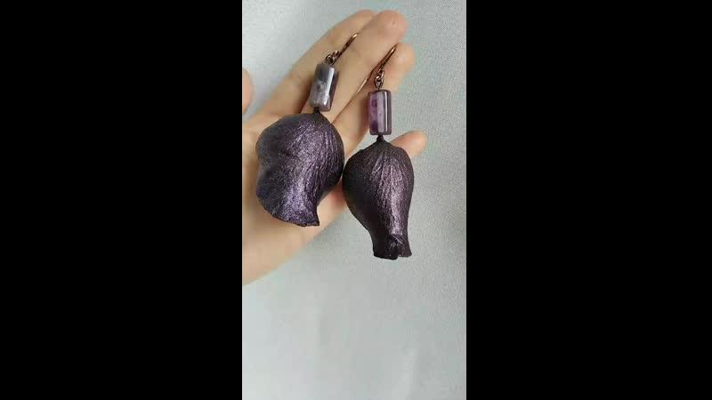 Серьги из аметист лепестки роз
