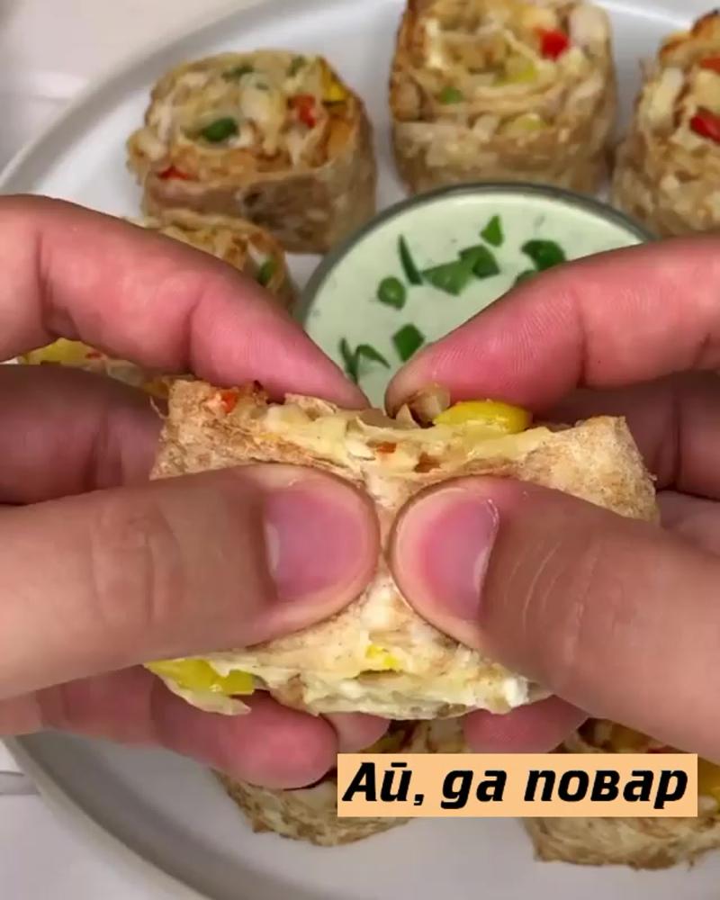 Роллы из лаваша с курицей и сыром