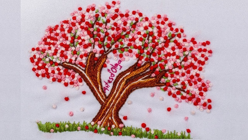 Sakura Japanese Cherry Blossom Tree Embroidery Arbol de cerezo bordado a mano Artesd'Olga