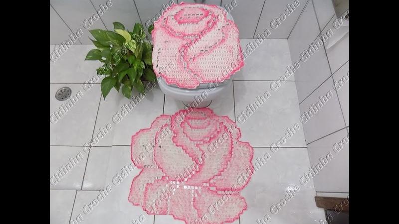 Cidinha Croche Jogo De Banheiro Em Croche Rosas Tapete Pia Pé Vaso Passo A Passo Parte 3 3