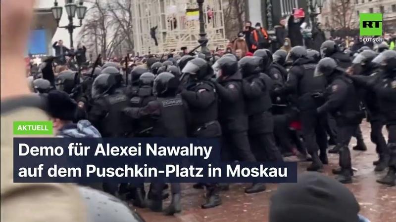 Demo für Alexei Nawalny auf dem Puschkin-Platz in Moskau