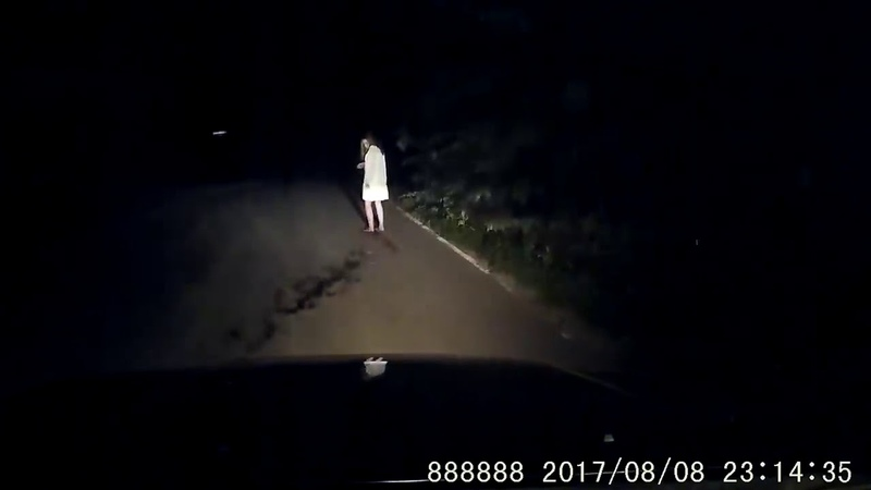 USA Scary Ghost Woman with a knife on the road at night caught on dashcam