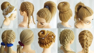 10 Easy Beautiful Elegant Hairstyles For Party 💗Hair Style Girl For School Ponytail💗Braid Hairstyles