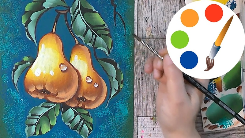 Paint the pears by a flat brush OneStroke
