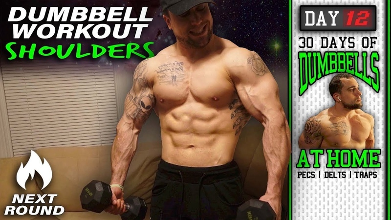 Home Dumbbell Workout for Shoulders 30 Days to Build Pecs Delts Trap Muscles Dumbbells Only